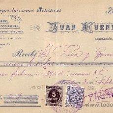 Sellos: (CAT.236,FISCAL 18). 1898. BARCELONA. RECIBO PUBLICITARIO CON SELLO FISCAL Y DE IMPUESTO DE GUERRA.. Lote 24730448