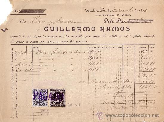 (CAT.236,FISCAL 18). BARCELONA. 1898. FACTURA REINTEGRADA CON SELLO FISCAL Y IMPUESTO DE GUERRA.BTO. (Sellos - España - Otros Clásicos de 1.850 a 1.885 - Cartas)