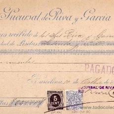 Sellos: (CAT.236,FISCAL 18).1898.BARCELONA.RECIBO REINTEGRADO SELLO FISCAL Y DE IMPUESTO DE GUERRA.MAGNÍFICO. Lote 24540465