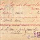 Sellos: (CAT.236,FISCAL19).SANTIAGO(GALICIA).1899.CHEQUE REINTEGRADO CON SELLO FISCAL E IMPUESTO DE GUERRA.R. Lote 26014857