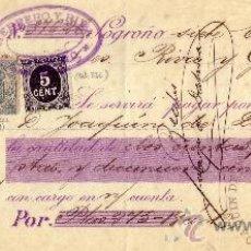Sellos: (CAT. 236, FISCAL19). LOGROÑO. 1899. CHEQUE REINTEGRADO CON SELLO FISCAL E IMPUESTO DE GUERRA. RARO.. Lote 26082203