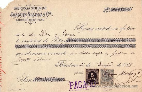 (CAT.236,FISCAL 19).BARCELONA.1899.RECIBO REINTEGRADO CON SELLO FISCAL E IMPUESTO DE GUERRA.BONITO. (Sellos - España - Otros Clásicos de 1.850 a 1.885 - Cartas)