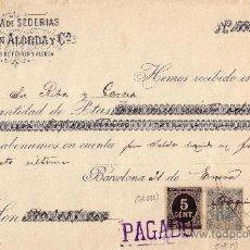 Sellos: (CAT.236,FISCAL 19).BARCELONA.1899.RECIBO REINTEGRADO CON SELLO FISCAL E IMPUESTO DE GUERRA.BONITO.. Lote 24730469