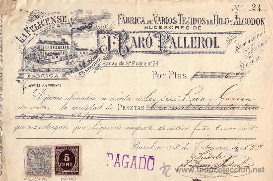 (CAT.236,FISCAL19).1899.BARCELONA.RECIBO PUBLICITARIO CON SELLO FISCAL E IMPUESTO D GUERRA.MUY RARO. (Sellos - España - Otros Clásicos de 1.850 a 1.885 - Cartas)