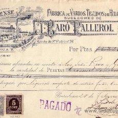 Sellos: (CAT.236,FISCAL19).1899.BARCELONA.RECIBO PUBLICITARIO CON SELLO FISCAL E IMPUESTO D GUERRA.MUY RARO.. Lote 26521265