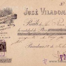 Sellos: (CAT.236, FISCAL19).1899. BARCELONA. RECIBO PUBLICITARIO CON SELLO FISCAL E IMPUESTO D GUERRA. RARO.. Lote 23959658