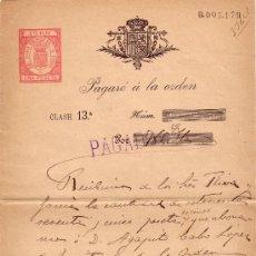 Sellos: ESPAÑA. BARCELONA.1900. PAGARÉ REINTEGRADO CON SELLO FISCAL NO CATALOGADO. MAGNÍFICO Y MUY RARO.. Lote 26634915