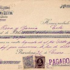 Sellos: (CAT.236,FISCAL 19).1899. BARCELONA.RECIBO PUBLICITARIO. SELLO FISCAL E IMPUESTO D GUERRA.MAGNÍFICO.. Lote 24328126