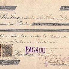 Sellos: (CAT.236,FISCAL 19).1899.BARCELONA.RECIBO REINTEGRADO SELLO FISCAL E IMPUESTO DE GUERRA. MAGNÍFICO.. Lote 24289703