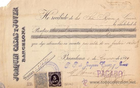 ESPAÑA. (CAT.236,FISCAL19).1899. BARCELONA. RECIBO CON SELLO FISCAL E IMPUESTO DE GUERRA. MAGNÍFICO. (Sellos - España - Otros Clásicos de 1.850 a 1.885 - Cartas)