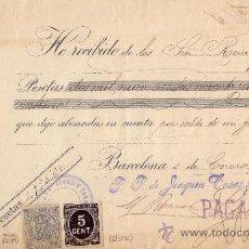 Sellos: ESPAÑA. (CAT.236,FISCAL19).1899. BARCELONA. RECIBO CON SELLO FISCAL E IMPUESTO DE GUERRA. MAGNÍFICO.. Lote 24289725