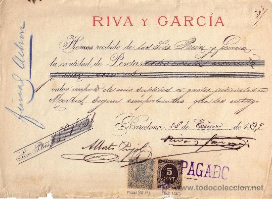 ESPAÑA. (CAT. 236, FISCAL 19). 1899. BARCELONA. RECIBO. SELLO FISCAL E IMPUESTO D GUERRA. MAGNÍFICO. (Sellos - España - Otros Clásicos de 1.850 a 1.885 - Cartas)