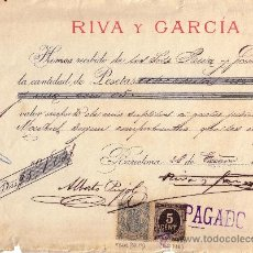 Sellos: ESPAÑA. (CAT. 236, FISCAL 19). 1899. BARCELONA. RECIBO. SELLO FISCAL E IMPUESTO D GUERRA. MAGNÍFICO.. Lote 24328132