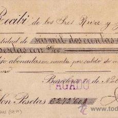 Sellos: BARCELONA. 1899. RECIBO REINTEGRADO CON SELLO FISCAL. MAGNÍFICO.. Lote 24268953