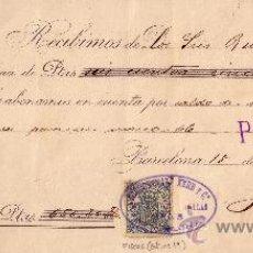 Sellos: BARCELONA. 1899. RECIBO REINTEGRADO CON SELLO FISCAL. MAGNÍFICO.. Lote 24246077