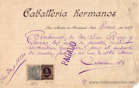 (CAT.236/FISCAL 19)1899.S.MARTIN D PROVENSALS(BARCELONA).RECIBO RENTEGRADO FISCAL E IMPUESTO GUERRA. (Sellos - España - Otros Clásicos de 1.850 a 1.885 - Cartas)