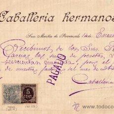 Sellos: (CAT.236/FISCAL 19)1899.S.MARTIN D PROVENSALS(BARCELONA).RECIBO RENTEGRADO FISCAL E IMPUESTO GUERRA.. Lote 26952305