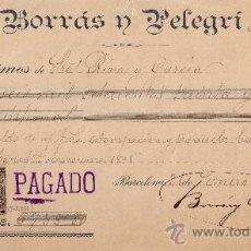 Sellos: ESPAÑA.(CAT.236,FISCAL19)1899.BARCELONA.RECIBO REINTEGRADO CON FISCAL Y SELLO IMPUESTO GUERRA. RARO.. Lote 24310054