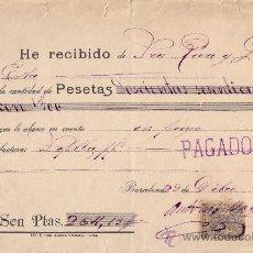 Sellos: ESPAÑA. BARCELONA. 1899. RECIBO REINTEGRADO CON SELLO FISCAL. MAGNÍFICO.. Lote 24268909