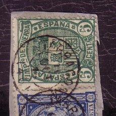 Sellos: TARRAGONA.-MATASELLO FECHADOR LETRAS DE PALO RECTO DE TARRAGONA 154, 164 SOBRE FRAGMENTO.. Lote 14075169
