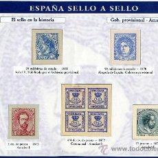 Sellos: HOJA CON REPRODUCCIONES AUTORIZADA POR CORREOS DE SELLOS DE GOVIERNO PROVISIONAL Y AMADEO1º+ENTIENDA. Lote 43672605
