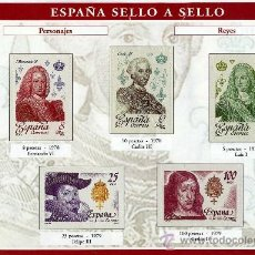 Sellos: HOJA CON REPRODUCCIONES AUTORIZADA POR CORREOS DE PERSONAJES REYES +ENTIENDA. Lote 34931342