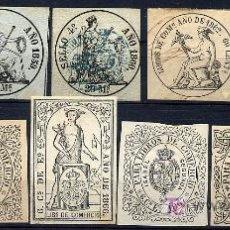 Sellos: ESPAÑA. SELLOS FISCALES - LIBROS DE COMERCIO - CATÁLOGO EDIFIL 7,8,9,11,12,13,15,16,17,18, 19 (130€). Lote 27424739