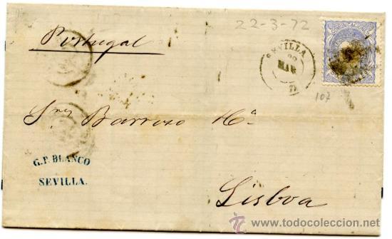 INTERESANTE CARTA (RIBETE NEGRO) CIRCULADA EDIFIL 107 DE SEVILLA A LISBOA (PORTUGAL) VIA BADAJOZ Y + (Sellos - España - Otros Clásicos de 1.850 a 1.885 - Cartas)