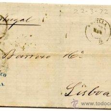 Sellos: INTERESANTE CARTA (RIBETE NEGRO) CIRCULADA EDIFIL 107 DE SEVILLA A LISBOA (PORTUGAL) VIA BADAJOZ Y +. Lote 27209075