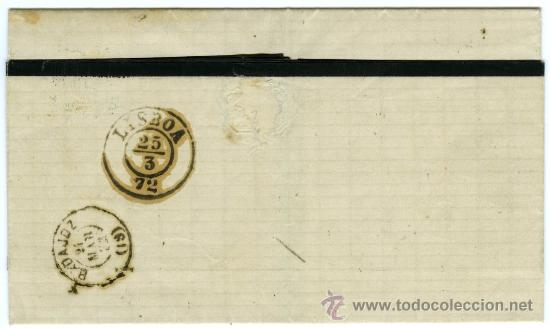 Sellos: INTERESANTE CARTA (RIBETE NEGRO) CIRCULADA EDIFIL 107 DE SEVILLA A LISBOA (PORTUGAL) VIA BADAJOZ Y + - Foto 2 - 27209075