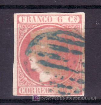 ESPAÑA 12 USADA, MATASELLO PARRILLA AZUL (Sellos - España - Otros Clásicos de 1.850 a 1.885 - Usados)