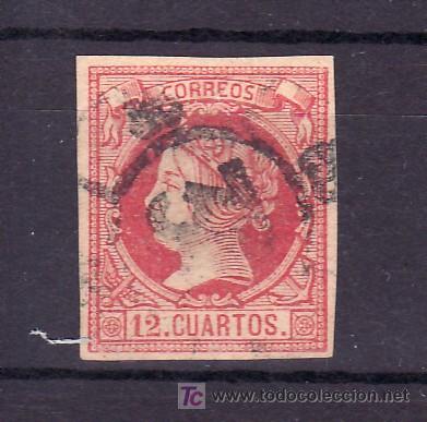 ESPAÑA 53 USADA, MATASELLO RUEDA DE CARRETA (Sellos - España - Otros Clásicos de 1.850 a 1.885 - Usados)