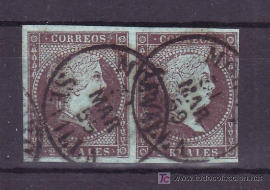 ESPAÑA 42 PAREJA USADA, MATASELLO FECHADOR TIPO I DE MORON (Sellos - España - Otros Clásicos de 1.850 a 1.885 - Usados)