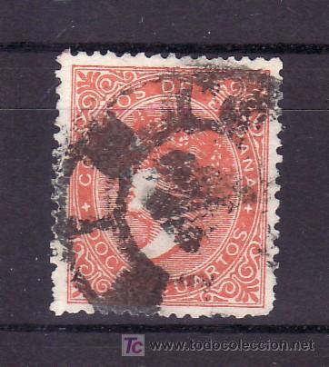 ESPAÑA 89A USADA, MATASELLO RUEDA DE CARRETA, COLOR NARANJA (Sellos - España - Otros Clásicos de 1.850 a 1.885 - Usados)