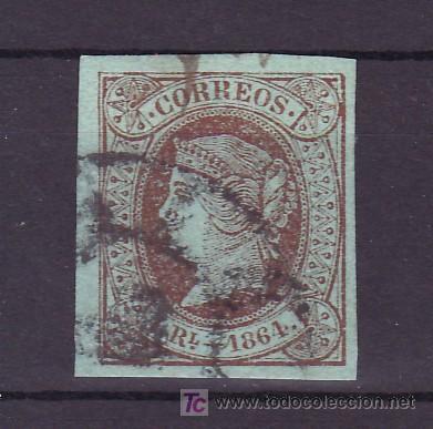 ESPAÑA 67 USADA, MATASELLO RUEDA DE CARRETA, MUY BONITO, (Sellos - España - Otros Clásicos de 1.850 a 1.885 - Usados)