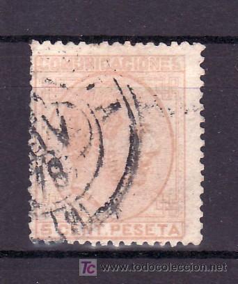 ESPAÑA 191 USADA, MATASELLO FECHADOR (Sellos - España - Otros Clásicos de 1.850 a 1.885 - Usados)
