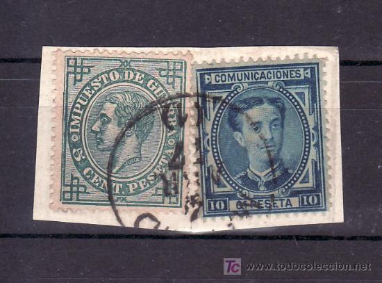 ESPAÑA 175, 183 FRAGMENTO USADA, MATASELLO FECHADOR, (Sellos - España - Otros Clásicos de 1.850 a 1.885 - Usados)