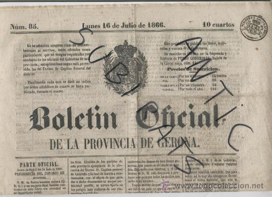 TIMBRE DE PERIODICOS CATALOGO ESPECIALIZADO EDIFIL P.10 BOLETIN DE GERONA SELLOS ESPAÑA CLASICOS (Sellos - España - Otros Clásicos de 1.850 a 1.885 - Usados)