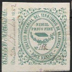 Sellos: 310-SELLO CLASICO AÑO 1863 ALTO VALOR FISCAL COLEGIO NOTARIAL VALENCIA 12 REALES VERDE DATA 18.... Lote 20023835
