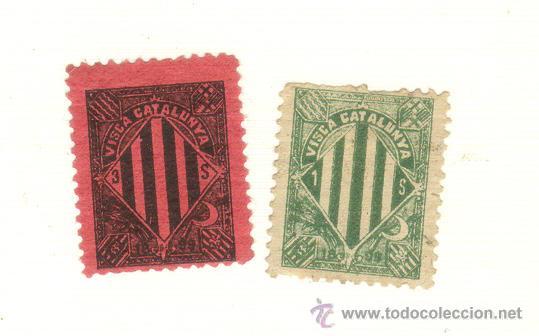 DOS SELLOS VISCA CATALUNYA CATALUÑA 1899 VALORES DISTINTOS A CLASIFICAR (Sellos - España - Otros Clásicos de 1.850 a 1.885 - Usados)
