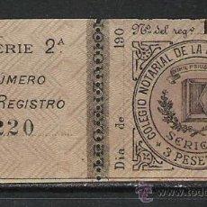 Sellos: SELLO CLASICO COLEGIO NOTARIAL PROVINCIA DE ALICANTE NUEVO ** LUJO 3 PESETAS . Lote 19416909