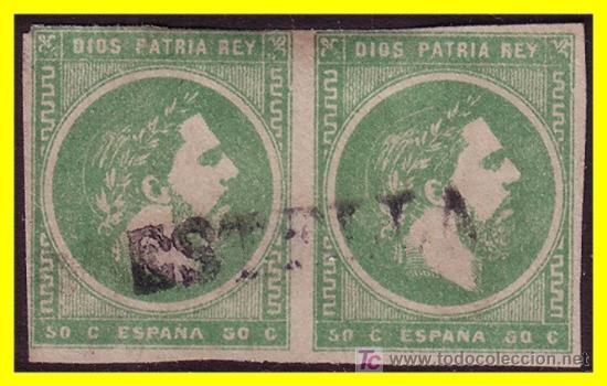 1875 CARLOS VII EDIFIL Nº 160 (O) B2 MAT. LINEAL ESTELLA (Sellos - España - Otros Clásicos de 1.850 a 1.885 - Usados)