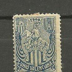 Selos: N VALENCIA NATHAN Nº V-8 UNIO VALENCIANA 1900 - AZUL SOBRE PAPEL GRIS. Lote 20162400