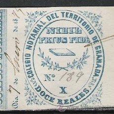 Sellos: 1803-SELLO FISCAL COLEGIO NOTARIAL DE GRANADA 12 REALES AZUL SERIE X.AÑO 1870. Lote 21330667