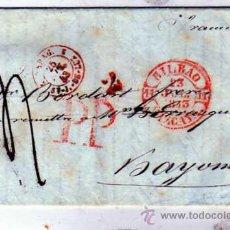Sellos: PREFILATELIA. PORTES PAGADOS. BILBAO VIZCAYA. BAYONA. 1845 ?. TRES MATASELLOS.. Lote 23041380