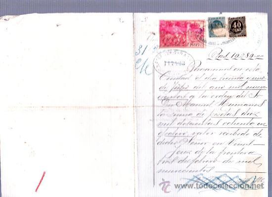 PAGARE POR 10280 PTAS. CON 1 SELLO DE 7 PTAS OTRO DE UNA PTA Y OTRO DE 40 CENT. 1900. (Sellos - España - Otros Clásicos de 1.850 a 1.885 - Usados)
