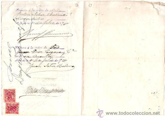 Sellos: PAGARE POR 10280 PTAS. CON 1 SELLO DE 7 PTAS OTRO DE UNA PTA Y OTRO DE 40 CENT. 1900. - Foto 2 - 22584768