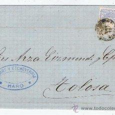 Sellos: CIRCULADO DE HARO A TOLOSA 1872 EDIFIL 107 VALOR 2010 CATALOGO 9.50 EURO. Lote 28448271