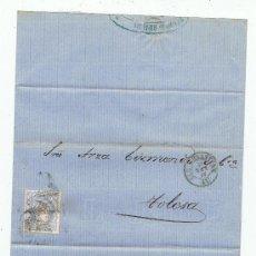 Sellos: CIRCULADO DE SAN SEBASTIAN A TOLOSA 1870 EDIFIL 107 VALOR 2010 CATALOGO 9.50 EURO. Lote 28448284
