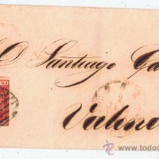 Sellos: ESCUDO 1854 CIRCULADO A VALENCIA EDIFIL 24 VALOR 2010 CATALOGO 23 EUROS. Lote 29970685